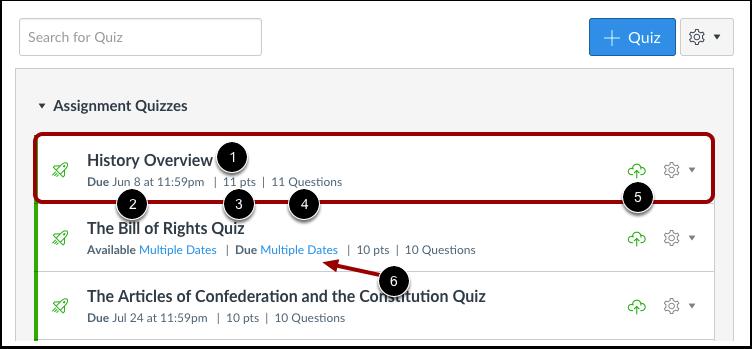 View Individual Quiz