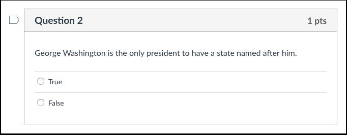 Student View of True/False Question