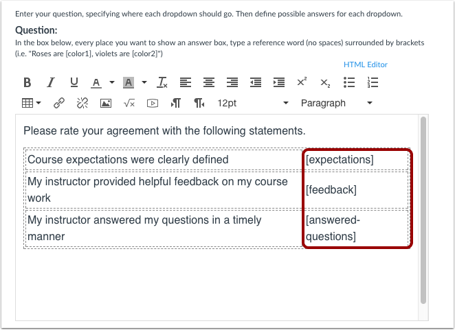 Add Likert Items as Statements and Answer Choice Boxes