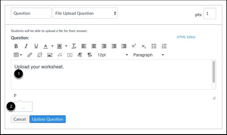 Edit File Upload Question Details