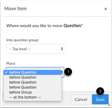 Move Quiz Question or Group