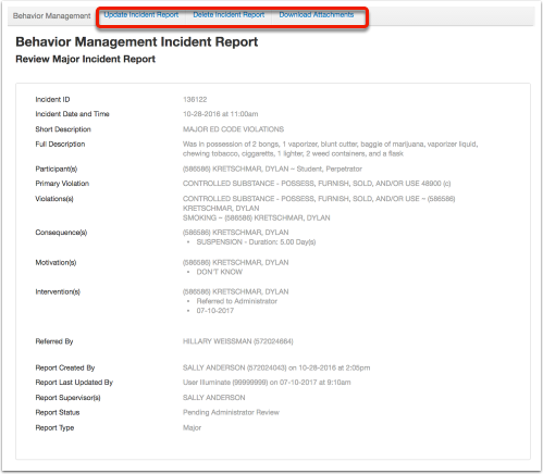 reviewing an incident report