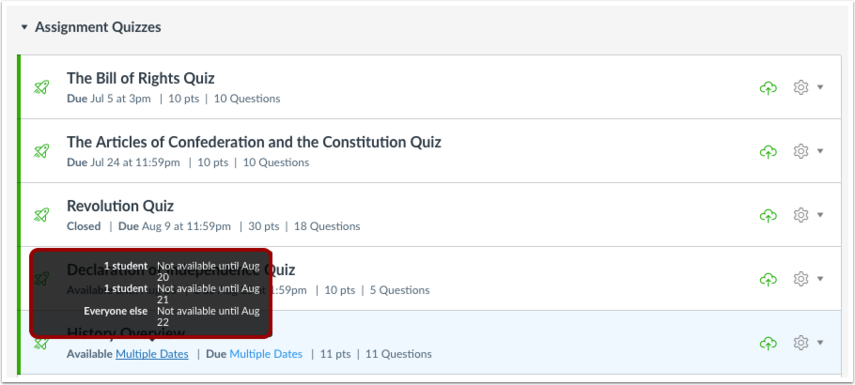 View Quizzes Page