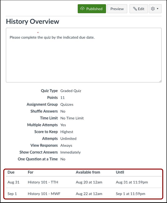View Quiz Dates