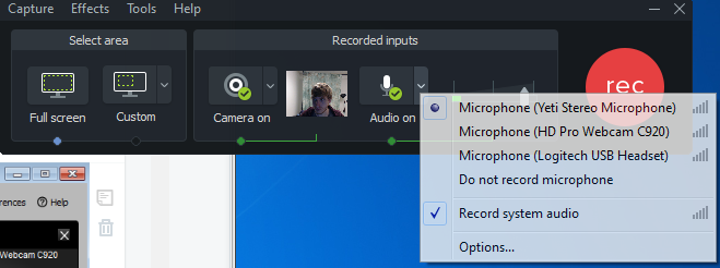 Camtasia screen shot with Audio drop down menu showing all Mic options
