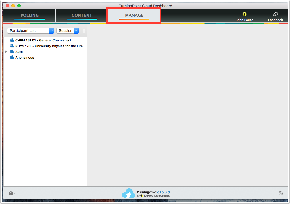 Access the Manage Tab in TurningPoint