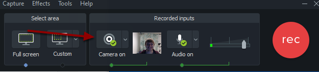 Camtasia image showing the green check next to Camera On button
