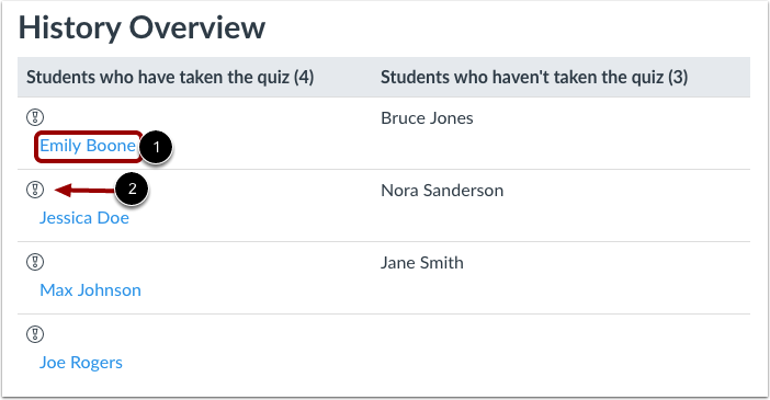 Select Student Quiz Result
