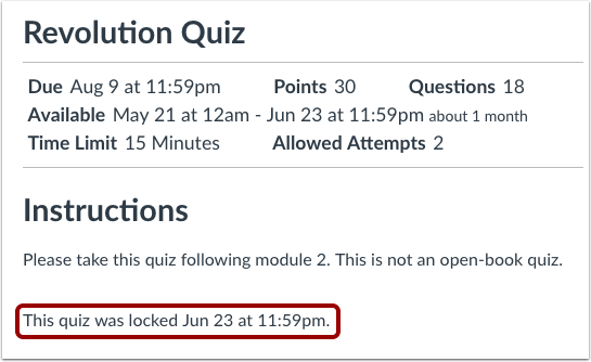 View Closed Quiz