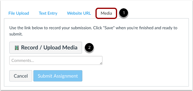 Record/Upload Media via Media Tab