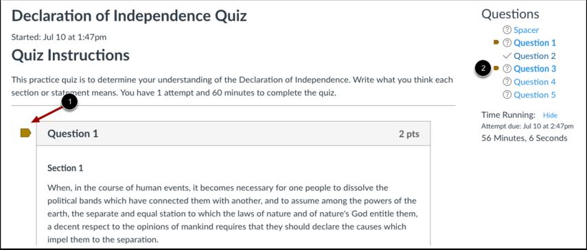 Preguntas marcadas con una bandera