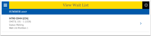 View Wait List page