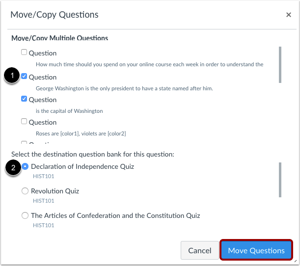 How Do I Move Multiple Questions From One Quest Canvas Lms