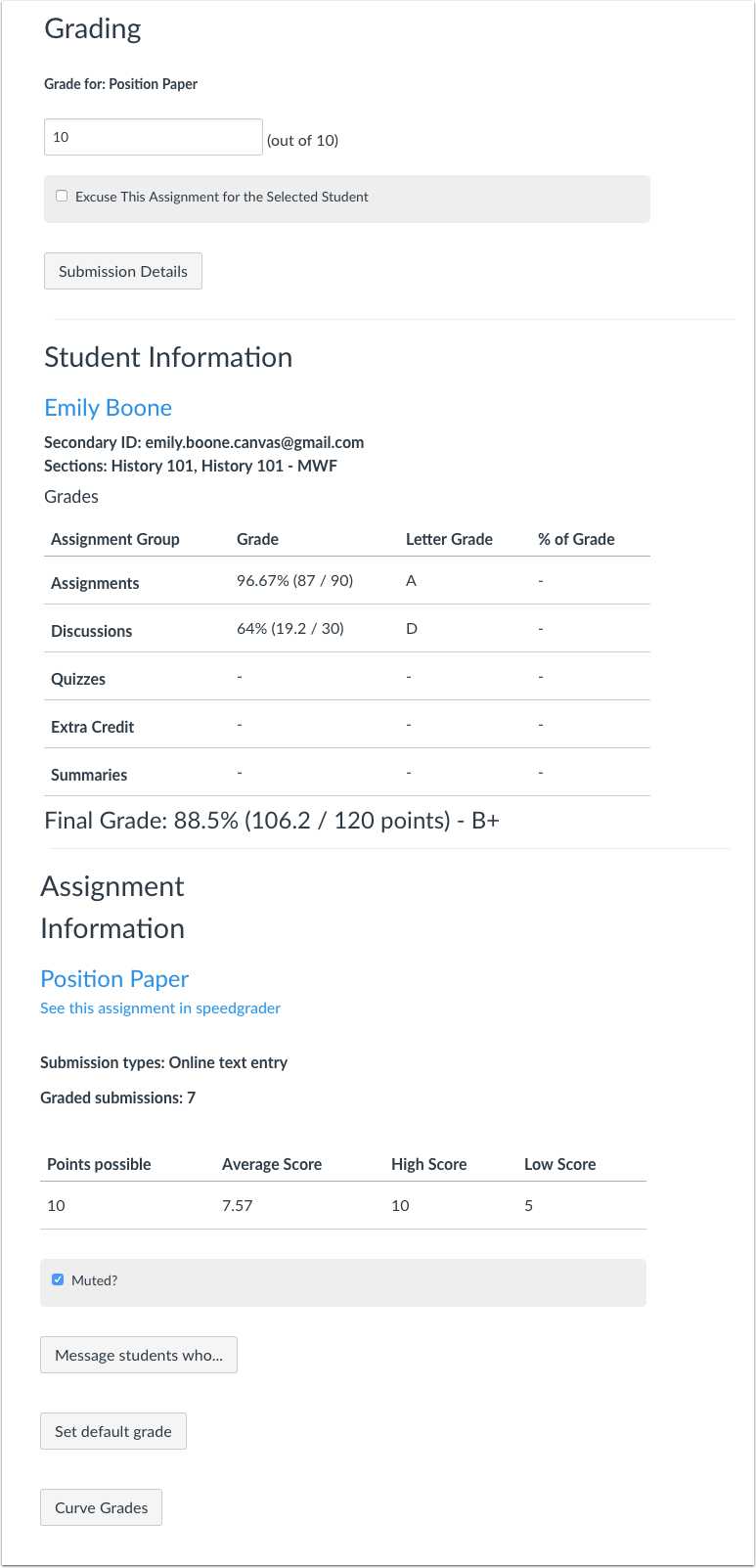View Gradebook Information