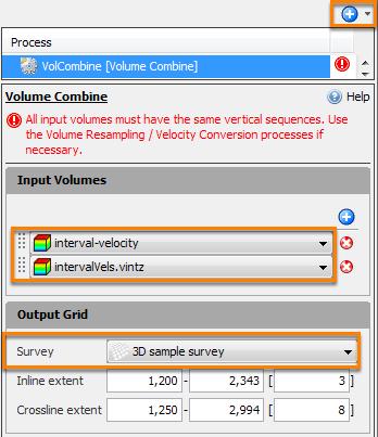 Velocity volume combine for time/depth conversion