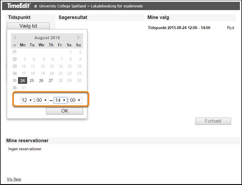Vælg dato, tidspunkt og klik OK