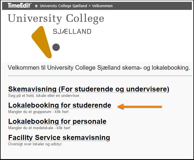 Vælg Lokalebooking for studerende