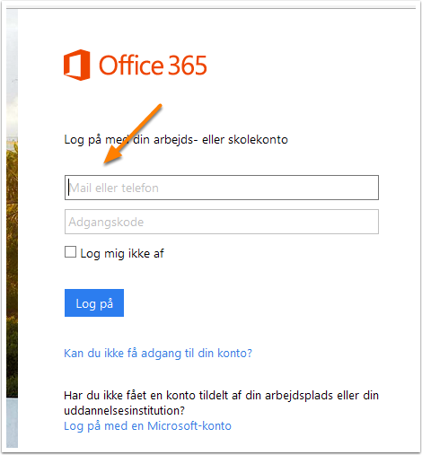 Log på Office 365