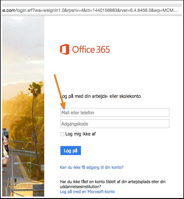 Log på Office 365