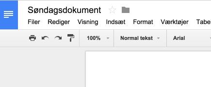 Søndagsdokument - Google Docs