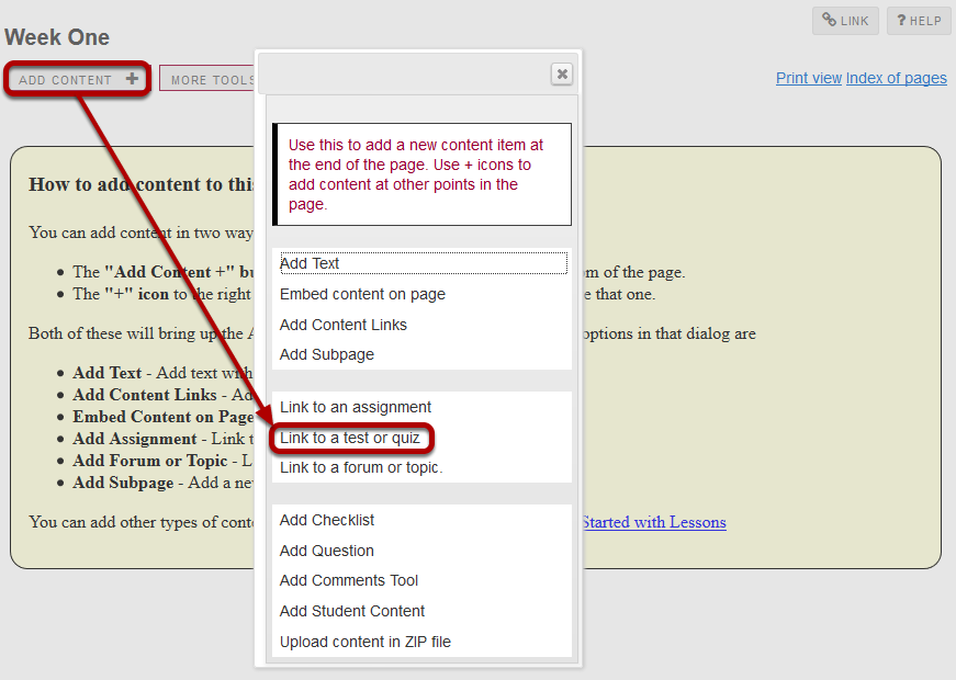 Click Add Content, then Link to test or quiz.