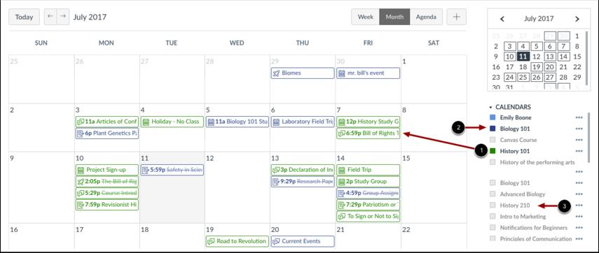 Vis kalenderlisten
