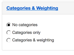Categories and Weighting.