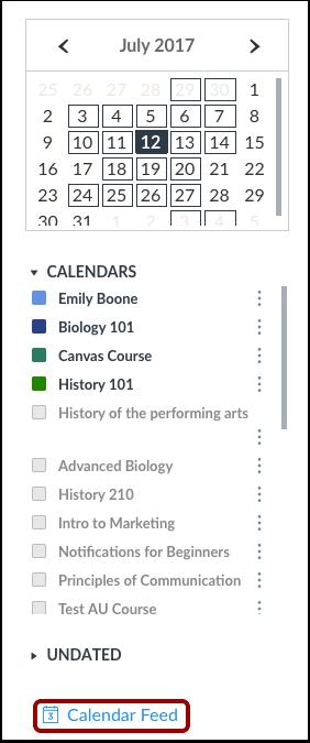 Abrir el feed del calendario