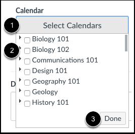 Selecionar os Calendários
