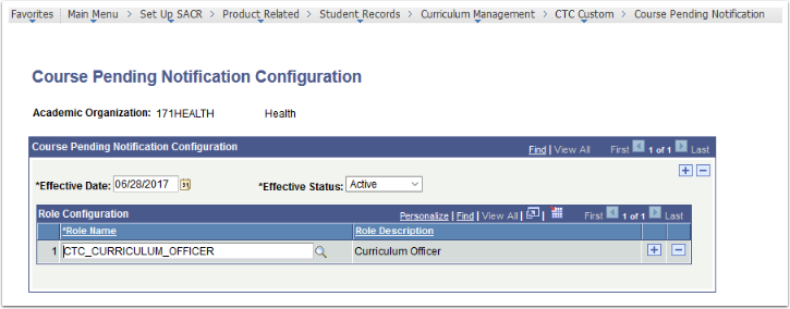 Course Pending Notification Configuration page