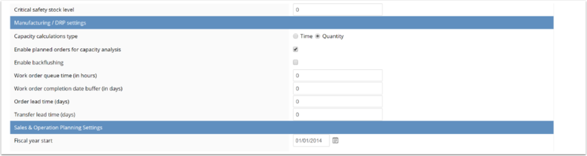 Following settings are applied when a BOM and/or Capacity management modules are enabled