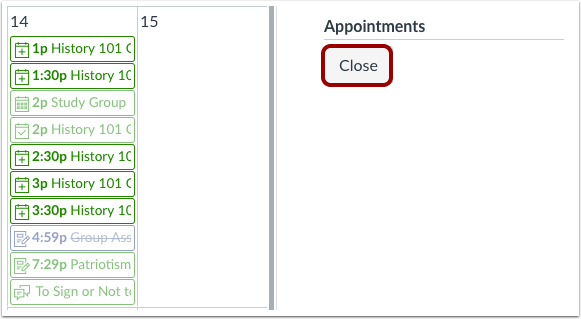 Close Appointments
