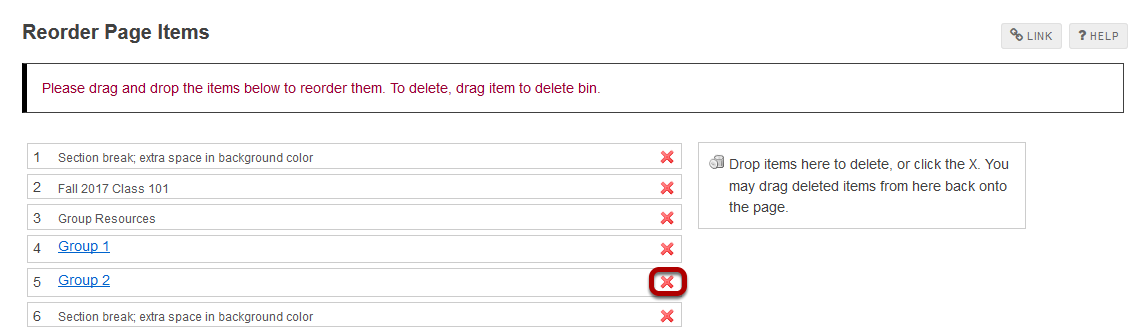 Click the red X icon located to the right of the item.