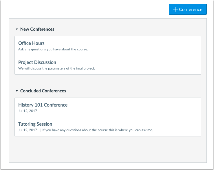 Quando usaria o Conferences como aluno?