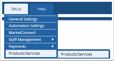 Setup > Products/Services > Products/Services