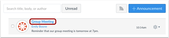 Delete Announcement via Individual Announcement