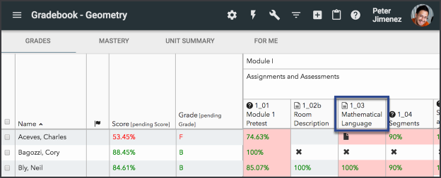 Gradebook with an activity header outlined.