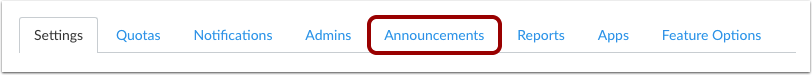 Find Announcements Tab