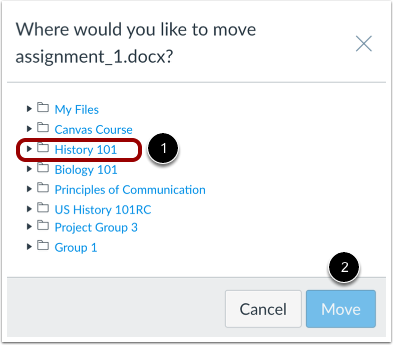 Choose New File Location