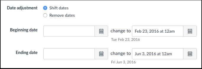 Ajustar fechas de eventos y de término