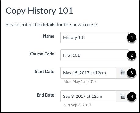 Create Course Details