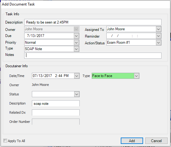 Add Document Task Screen Dialog