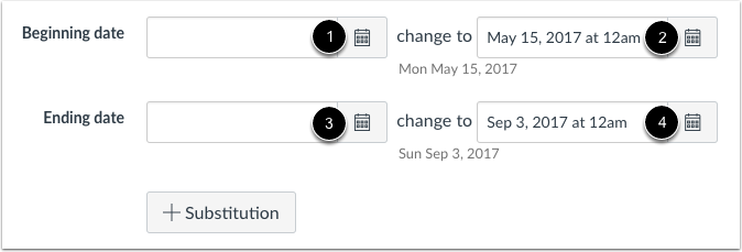 Set Beginning and End Dates
