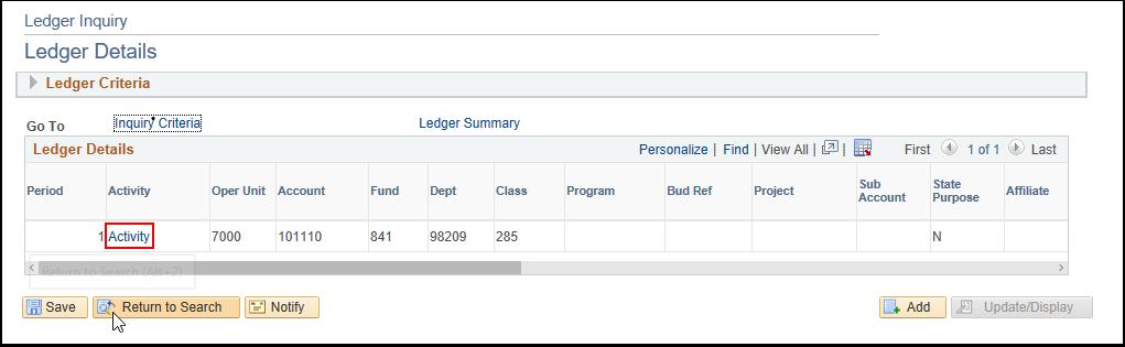 Ledger Summary - Activity