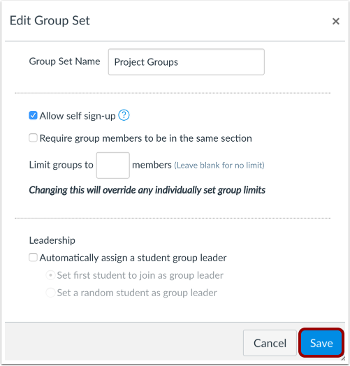 Edit and Save Group Set Changes
