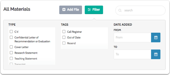 Choose to filter the list by type, tags, or date added