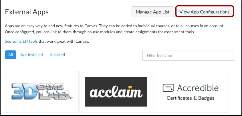 View App Configurations