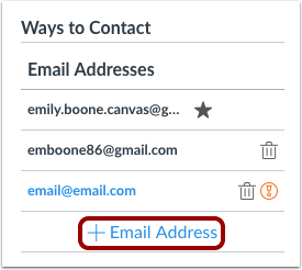 how do i add an additional email address as a c canvas lms