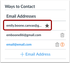 how do i change my default email address in my canvas lms