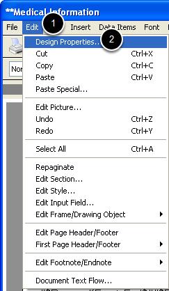 Edit - Design Properties